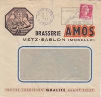Lettre à Entête Brasserie Amos (Gambrinus) Obl. Flamme (Foire De Metz, Clef Anglaise) Metz-Gare Le 10/11/55 - Cervezas