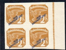 SLOVAKIA, 1939 2h BROWN IMPERF O/P BLOCK 4 MNH - Ungebraucht