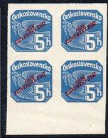 SLOVAKIA, 1939 5h BLUE IMPERF O/P BLOCK 4 MNH - Slovakia
