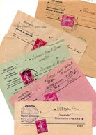 J135  Annees 192x  5 Avis Des Impots Avec Semeuse 20 Cts Fermant Le Pli (indre Et Indre Et Loire - Variétés: 1921-30 Lettres & Documents
