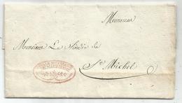FRANCHISE SARDE ROUGE  SAVOIE ROYALE INTENDANCE DE MAURIENNE 1833 ST JEAN MAURIENNE POUR ST MICHEL - Marcophilie (Lettres)