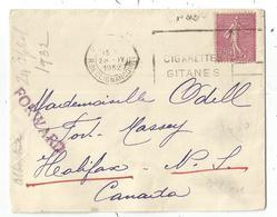 N°202 75C SEMEUSE LIGNEE SEUL LETTRE PARIS 28.IV.1932  POUR LE CANADA TARIF RELATIONS + GRIFFE FORWARD - Marcophilie (Lettres)