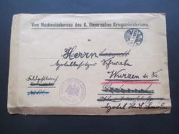 1. WK 1915 Feldpostbrief Vom Nachweisbureau Des K. Bayerischen Kriegsministeriums über Dortmund Weitergeleitet N. Wurzen - Deutschland