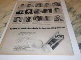 ANCIENNE PUBLICITE SHAMPOOING ACTIV DE GILETTE 1972 - Profumi & Bellezza