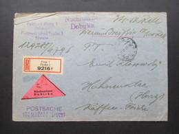 Böhmen Und Mähren 1942 Postamt Prag 1 Nachnahme Dobirka Einschreiben Postsache Nach Hahnenklee Im Harz - Briefe U. Dokumente