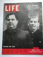 LIFE APRIL 6 1953 MALENKOV,STALIN/WRESTLING:L.NOMELLINI/PERON/WEST BERLIN/INDIA/L.CARON/GOSE TATUM/A.A.NEST - Livres, BD, Revues