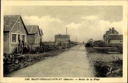 Cp Saint Germain Sur Ay Manche, Route De La Plage - France