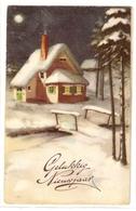 BA 1944 OLD FANTASY POSTCARD , PERIOD 1945-1970 , CIRCULATED , BONNE ANNEE , VIEWS And LANDSCAPES - Nieuwjaar