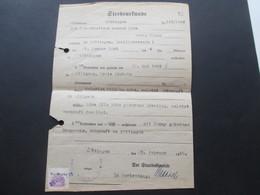 Dokument 1946 Sterbeurkunde Göttingen Mit Gebührenmarke / Wertmarke 25. Feb. 1946 Gestempel - Gebührenstempel, Impoststempel