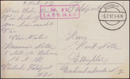 Feldpost Briefstempel 5.A.M.K. 16. A.K. FELDPOST 5.7.17 Auf AK Olaf Fönss - Besetzungen 1914-18