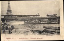 Cp Paris, Le Métropolitain, Passerelle D'Auteuil, Tour Eiffel - France