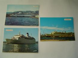 3 X CARTE POSTALE EDITIONS LEO : PAQUEBOT FERRY / AZUR - MASSALIA - CIE PAQUET  / NAPOLEON - SNCM - Ferries