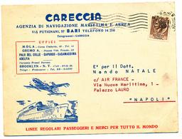 1956 BARI PUGLIA CARTONCINO PUBBLICITARIO CARECCIA AGENZIA NAVIGAZIONE MARITTIMA E AEREA - 4. 1944-45 Repubblica Sociale