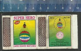 SUPER HERO  AIR BALLOON LUFTBALLON GAS BAG - INDIA Matchbox Skillet - Zündholzschachteletiketten