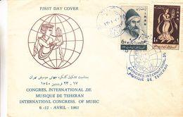 Iran - Lettre FDC De 1961 - Oblit Teheran - Musique - Congrès International De Musique De Teheran - Iran
