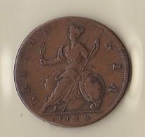 HALF PENNY - GEORGIUS II  1729 - 1662-1816 : Anciennes Frappes Fin XVII° - Début XIX° S.