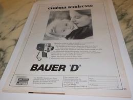 ANCIENNE PUBLICITE CINEMA TENDRESSE CAMERA  BAUER 1972 - Autres
