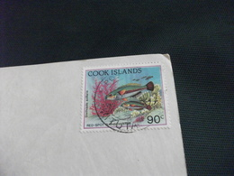 STORIA POSTALE FRANCOBOLLO COOK ISLANDS PESCI FISH TRADITIONAL MARAE ANGOLI SCIUPATI - Isole Cook