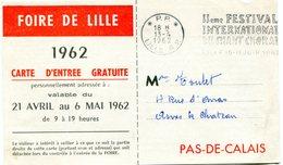 NORD De LILLE Flamme En P.P. Sur Imprimé De 1962 - Marcophilie (Lettres)