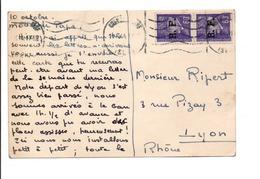 AFFRANCHISSEMENT COMPOSE DE PETAIN SURCHARGES RF SUR CARTE DE GRENOBLE 10/10/1944 - Marcophilie (Lettres)