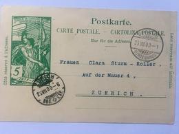 Switizerland Carte Postale `Jubile De L`union Postale Universelle` 1900 Bern To Zurich - 1882-1906 Coat Of Arms, Standing Helvetia & UPU