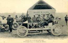 Circuit De La Sarthe. Juin 1906. Voiture Darracq 4 A; Conduite Par Hémery. (Location De Baches). - Le Mans