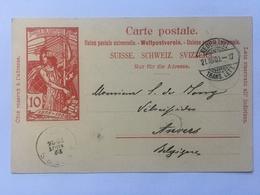 Switizerland Carte Postale `Jubile De L`union Postale Universelle` 1900 Neuchatel Transit To Anvers / Antwerp Belgium - 1882-1906 Armoiries, Helvetia Debout & UPU
