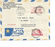 LE 0441. N° 368-371 LEOPOLDVILLE/KAMINA 7.5.60 S/Lettre AVION V. Wettingen (CH). TB - Congo Belge