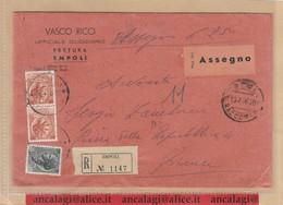 St.Post.571 - REPUBBLICA 1956 -  Busta Aperta Racc.3°porto  Con Assegno Per Empoli Città  13.7.56 - 6. 1946-.. Republik