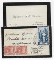 ITALIE - 1954 - ENVELOPPE CARTE DE VISITE De BRESCIA => GRENOBLE Avec TAXE GERBES - 1946-60: Storia Postale