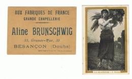 """Chromo Publicitaire 2 - Chapellerie """" AUX FABRIQUES DE FRANCE """" Aline BRUNSCHWIG - Besançon - Doubs  (Fr82) - Autres"""