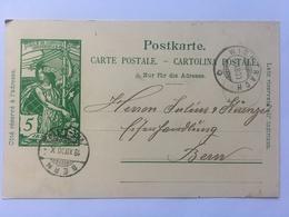 Switzerland Carte Postale `Jubile De L`union Postale Universelle` 1900 Wichtrach To Bern - Briefe U. Dokumente
