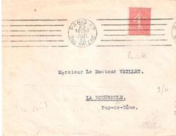 50c.semeuse Lignée (timbre De Roulette) Oblitéré PARIS 42 - Marcophilie (Lettres)
