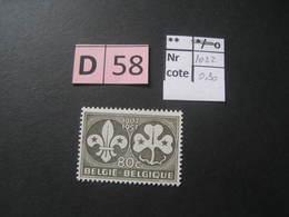 Timbres Anciens Vendus à 20% De La Valeur Catalogue  COB 1022** - Belgique