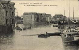 Cp Fin D Oise Yvelines Frankreich, Quai De Maurecourt, Inondations De Janvier 1910 - Frankrijk