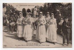 - CPA COSTUMES BRETONS (29) - Environs De Quimper - Les Jeunes Filles En Blanc Portent La Statue De La Sainte-Vierge - - Quimper