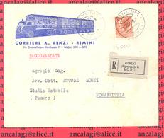 St.Post.575A - REPUBBLICA 1956 -  Lettera Racc. Da Rimini A Novafeltria 22.2.56 - 6. 1946-.. Repubblica