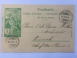 Switzerland Carte Postale `Jubile De L`union Postale Universelle` 1900 Biel To Zurich - 1882-1906 Armoiries, Helvetia Debout & UPU