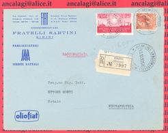 St.Post.576 - REPUBBLICA 1956 -  Lettera Racc.2°porto Da Rimini A Novafeltria 13.10.56 - 6. 1946-.. Repubblica