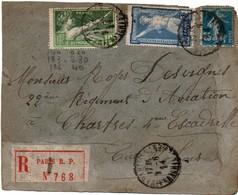 Paris Affranchissements Sur Lettre Recommandée Avec étiquette 1924 - Timbres Jeux Olympiques - Postmark Collection (Covers)