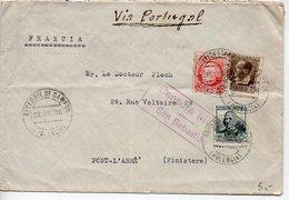 Espagne : Lettre De 1936 Pour La France Avec Censure De San Sebastian Et Mention Manuscrite Via Portugal - 1931-Aujourd'hui: II. République - ....Juan Carlos I