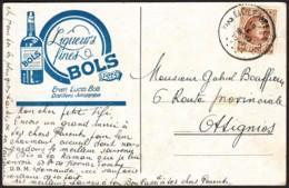 Belgique - CP COB 203 Entête Publicitaire Pour Les Liqueurs Fine Bols De Liclenbeek 19/9/27 Vers Ottignies (RD315)DC5829 - 1922-1927 Houyoux