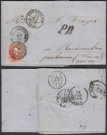 Belgique - LAC COB 12A De Bruxelles 22/10/1858 Vers Rochecorbon France (RD316)DC5830 - 1858-1862 Medaillen (9/12)