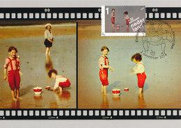 D38940 CARTE MAXIMUM CARD TRIPLE FD 2014 NETHERLANDS - CHILDREN PLAYING ON THE BEACH - AUTOCHROME CP ORIGINAL - Fotografie