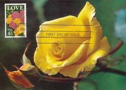 D38944 CARTE MAXIMUM CARD FD 1988 USA - YELLOW ROSE CP ORIGINAL - Rozen