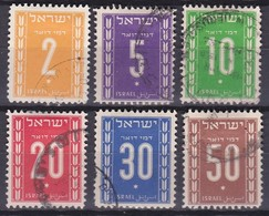 ISRAEL 1949 Postage Due Stamps Complete Used Set SG D 27 / 32 - Impuestos