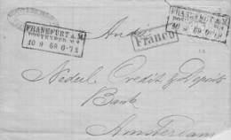 NORDDT. POSTBEZIRK - BRIEF 1869 FRANKFURT/M -> AMSTERDAM /AK209 - Norddeutscher Postbezirk (Confederazione Germ. Del Nord)