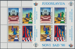 Thematik: Spiele-Schach / Games-chess: 1990, YUGOSLAVIA: Chess Olympiad In Novi Sad Perf. And Imperf - Schach