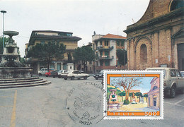 D38950 CARTE MAXIMUM CARD TRIPLE 1989 ITALY - GROTTOMARE PIAZZA S.PIO FOUNTAIN CP ORIGINAL - Architectuur