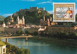 D38951 CARTE MAXIMUM CARD 1988 AUSTRIA - CITY OVERVIEW SALZBURG CASTLE CP ORIGINAL - Kastelen